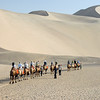 At Dunhuang, we rode camels beneath the Singing Dunes.