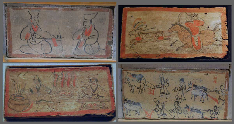 We visited several tombs of the Wei-Jin era (200-400 AD) near Jiayuguan, Gansu Province.  The tombs are dug about 30 feet below ground in the Gobi Desert and are lined with bricks, each of which is painted in a naive style.  This tomb art is unusual in that it shows daily life, rather than religious art.  Here you see bricks with musicians, hunting, cooking, and farming.