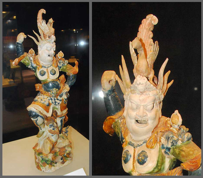 Here is a Tang tri-color tomb guardian, about 18 inches high.  Shaanxi Provincial Museum, Xi'an