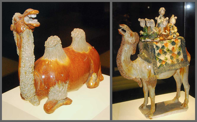 The caravans along the Silk Road often had as many as 1000 camels carrying goods back and forth, so camels were not surprisingly also popular subjects for Tang artists.  The camel on the right is carrying musicians.  Shaanxi Provincial Museum in Xi'an.