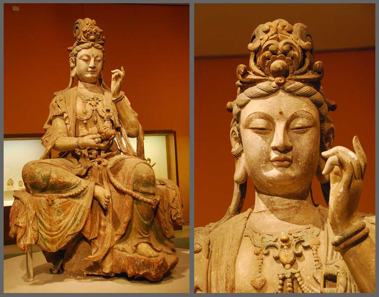 Here is a larger-than-lifesize stone carving of Avalokitesvara Boddhisattva, known in China as Guanyin, the Buddhist goddess of mercy.  This statue is from the Song Dynasty (960-1279 AD) and is in the China National Museum in Beijing.