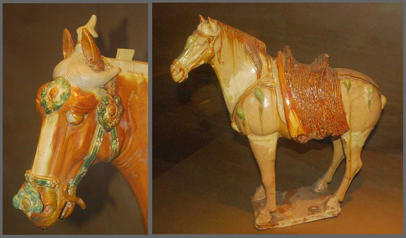 Tang tri-color horses are often found in the tombs of military leaders.  Shaanxi Provincial Museum in Xi'an.