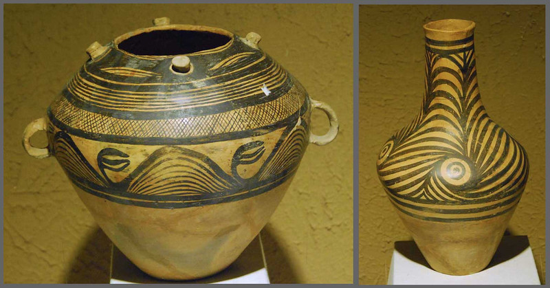 These clay pots date to about 3000 BC.  Gansu Provincial Museum, Lanzhou.
