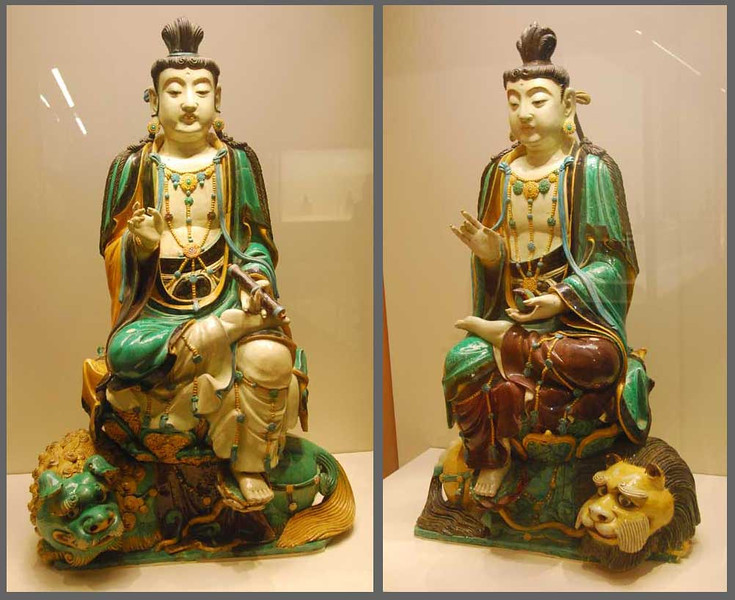 """Artists of the Tang Dynasty (618-907 AD) developed a style of glazed porcelain now called """"Tang Tri-Color"""" that used green, yellow, and brown glazes.  Buddhas and animals were popular subjects.  These two Buddhas, about 18 inches high, are in the Shaanxi Provincial Museum in Xi'an."""