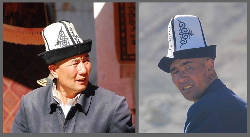 You can always identify an Kyrgyz man by his distinctive white embroded hat.  They don't like to have their pictures taken and I got yelled at by the man on the right, but I was able to escape.