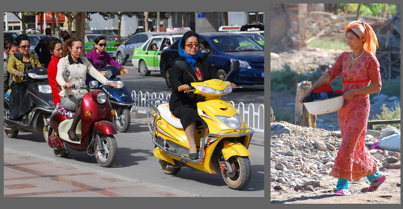 However, most Uyghur women in the cities are completely modern, as seen here in Kashgar.