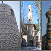 Western China becomes more and more Muslim the further west you go.  We visited many mosques with many styles of minarets.  From left to right: a minaret in Lanzhou, which has a distinctly Chinese pagoda architecture; a mud brick minaret at the Emin Mosque in Turpan; a simple minaret at a neighborhood mosque in Kashgar; a tiled minaret at the Abakh Khoja tomb in Kashgar; and a minaret at the Idkah mosque in Kashgar.  The Idkah mosque is the largest in China and attracts 10,000 worshipers for services.