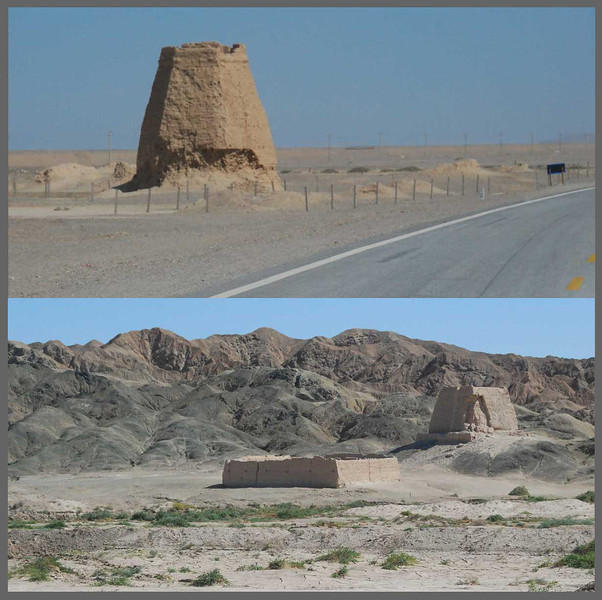 The modern highway often passes the remains of beacon towers that guided Silk Road travelers across the Gobi.  These towers were spaced about 20 miles apart--the distance a camel can travel in a day--and served as lighthouses in the desert.  The lower figure shows a beacon tower and the associated caravanserai, or stockade where you could park your camel for the night, rent a room, and toss back a few cold ones at the bar while you told stories about bandit attacks.  Marco Polo may well have slept here.