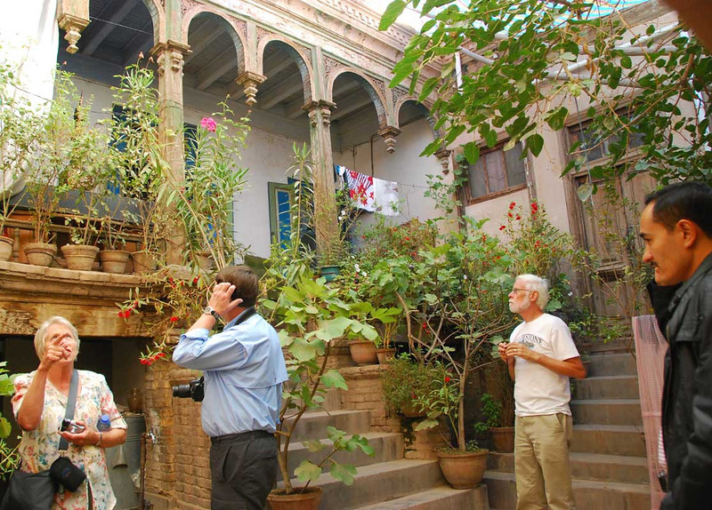 Here is the inside of another Uyghur home in the old part of Kashgar.  This one shows Russian influences in the architecture.  This was the home to the man in the next photo.