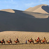 The sand dunes of the Taklamakan reach with within 3 miles of downtown Dunhuang.  One day we rode camels into the desert.  This is purely a tourist thing, but we did get to see how camels work.