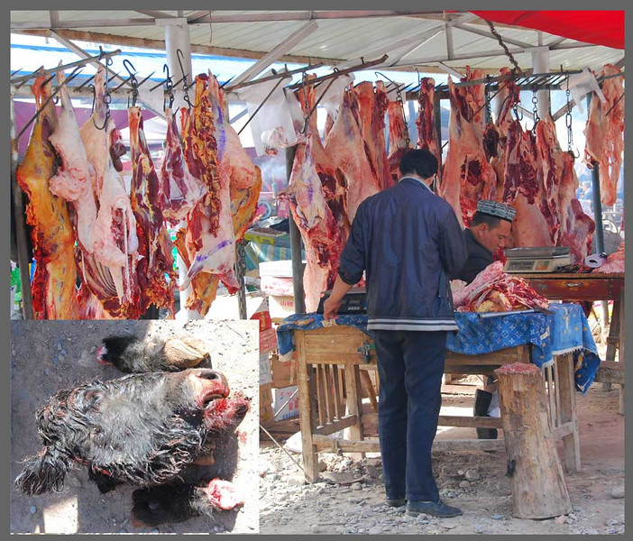 If you're buying for a BBQ the same day, you can have your new goat or cow slaughter on the spot.  The heads are just tossed on the ground.  Did I mention that Uyghur men all carry big knives?  This is what they get used for, in addition to carving up infidels if the need arises.