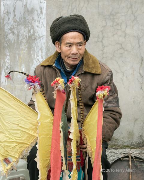 Old-Han-Ground-Opera-performer-before-the-performance,-Liuguan-Han-Village,-Guizhou-Province,-China