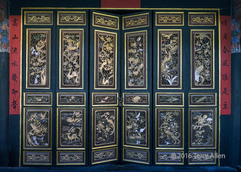 Beautifully carved folding doors with animals and flowers, Zhu house, Jianshui, Yunnan Province, China