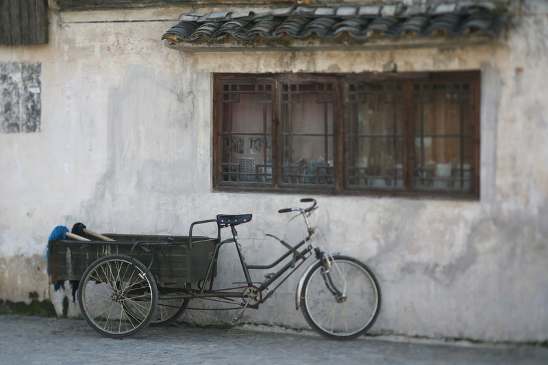 Bicycle Cart with Mops, Hong Village, near Huangshan, China