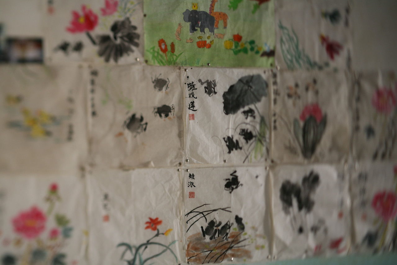 Paintings, Yang Shuo, China<br /> A local woman let us peek inside her home. One wall was covered with these paintings.