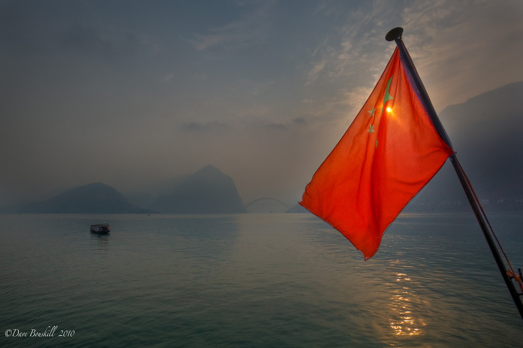 Red Flag while Sailing the Three Gorges in China