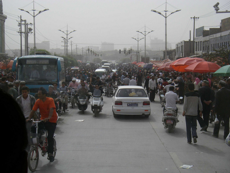 Outside the market, traffic is chaos.
