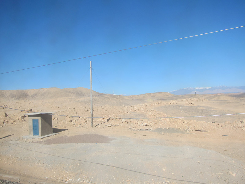 The train from Chengdu to Urumqi passes through a lot of sandy desert. The attendant wouldn't let me open the window, so this is through dirty glass.