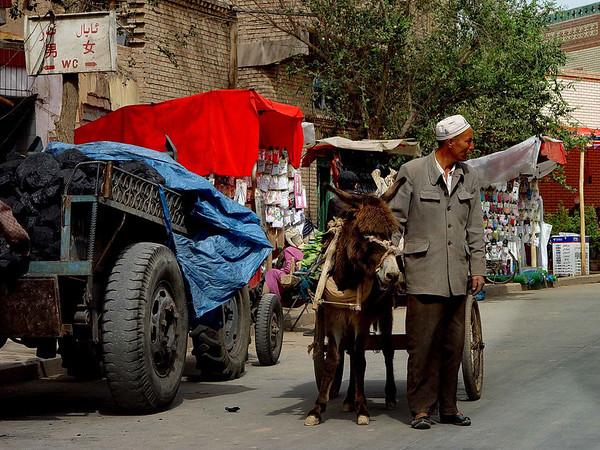 Kashgar street scene coal burro DSC01790