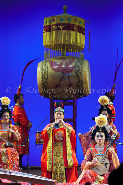 A colorful performance of the Tang Dynasty show in Xian, China, Asia.