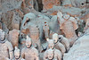 Terracotta Warriors and horse parts in pit