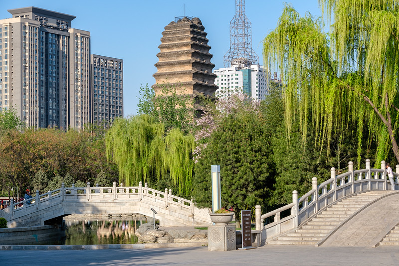 Old Pagoda Between New Buildings