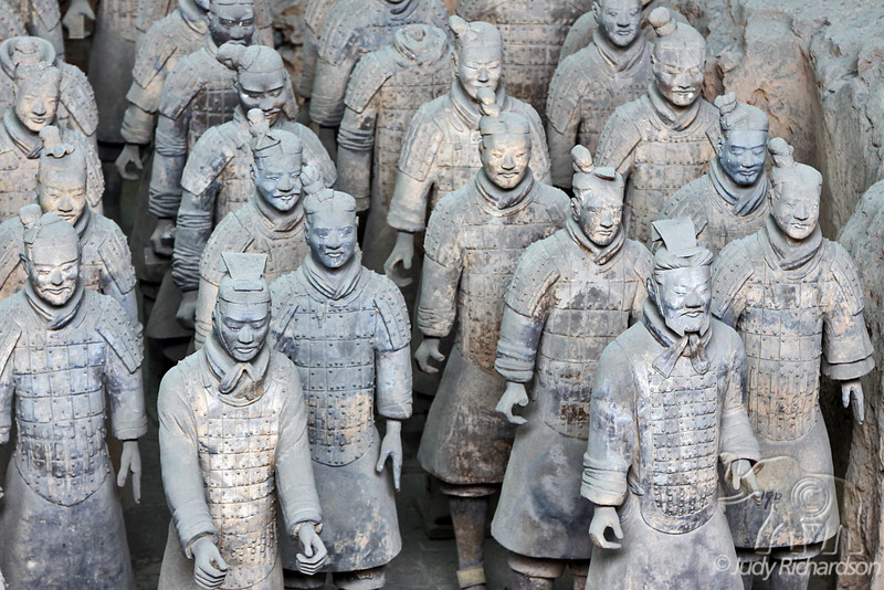 Terracotta Warriors with each one with slightly different facial features