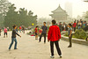 A Chinese group playing hackysack in Xing Qing Park in Xian, China, Asia.