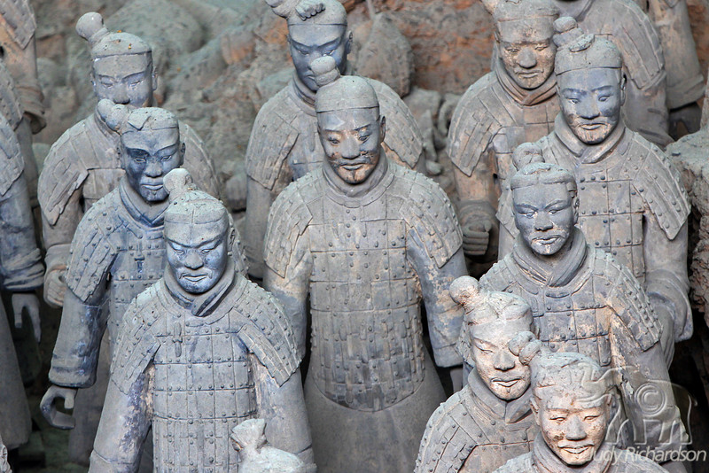 Terracotta Warriors close up showing facial expressions