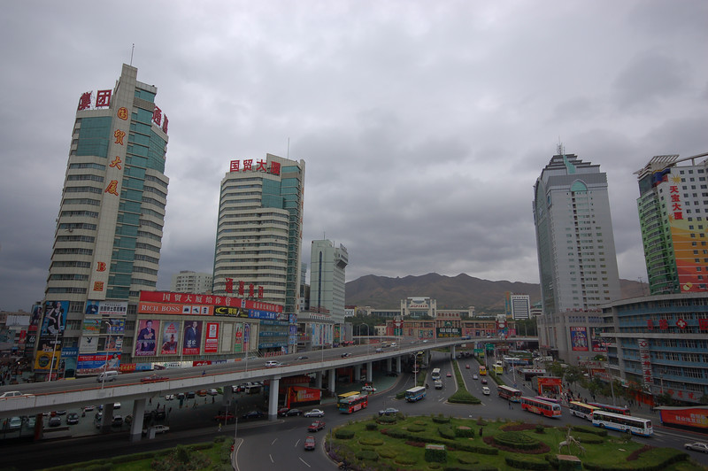A view of Urumqi from our hotel room near the train station