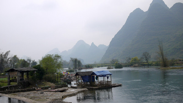 Rivers wind through the karst rocks and rice paddies outside of Yangshuo, China.
