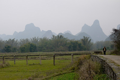 A water irrigation system set up for the rice paddies around Yangshuo, China.