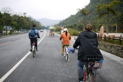 Riding bikes through the rural areas around Yangshuo, China.