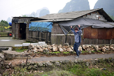 Pete was excited on his way back for his triumph of shouldering the heavy load; Yangshuo, China.