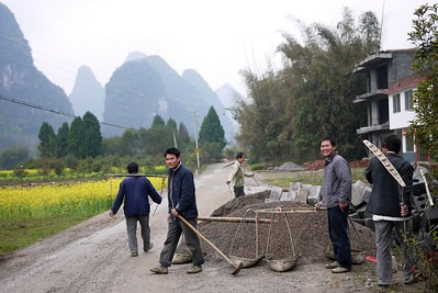 A farewell from the friendly workers on our bike ride around Yangshuo, China.