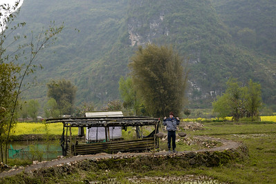 A triumphant Peter was happily able to carry their work-load into the rice paddies, Yangshuo, China.