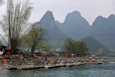 Rafts are ready to take tourists down the Li River in Yangshuo, China.