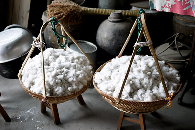 Cotton ready to be picked through and seed sorted in the Fishing Village near  Xingping and Yangshuo, China