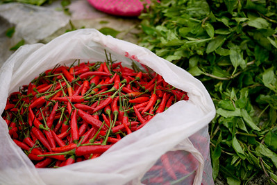 Some like it hot in China as evidenced by this heaping bag of spicy chili peppers at the market in Fuli, China.