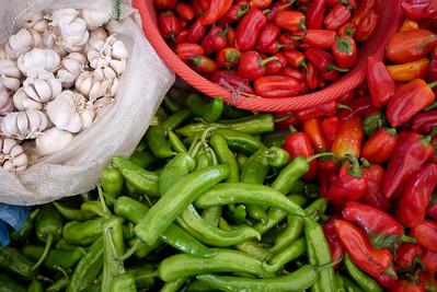 Pretty fresh veggies line the stalls at the Fuli Market near Yangshuo, China.