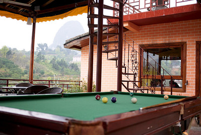 Pool table at our wonderful hostel in Yangshuo, China.