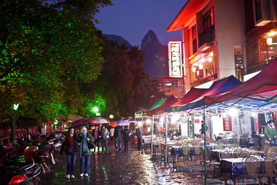 The open-air streets during the evening hours in Yangshuo, China.