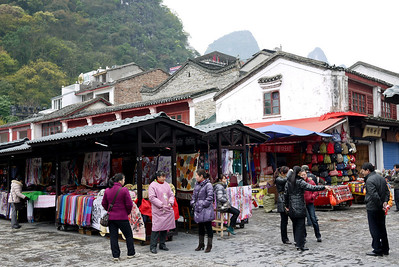 Vendors in Yangshuo, China.