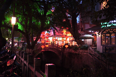 Prettily lit streets of Yangshuo, China.