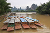Tourist boats waiting for activity on the Li River