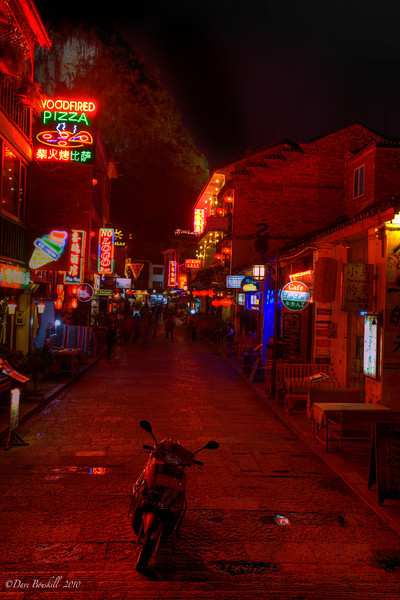 Downtown Yangshuo at night