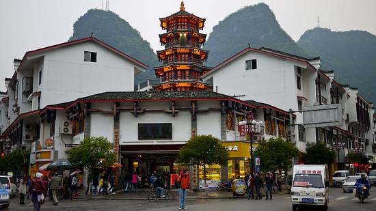 Yangshuo traffic and city center, China