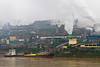 Smog and pollution from heavy industry along the Yangtze river in China, Asia.