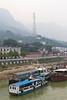 River tour boats along the Yangtze river at Sandouping, china, Asia.