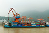 Container loading port along the Yangtze river in China, Asia.